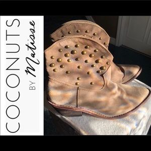 Gold Studded Western Ankle Bootie